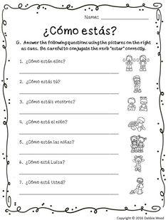 spanish estar with emotions spanish worksheets spanish worksheets spanish classroom. Black Bedroom Furniture Sets. Home Design Ideas