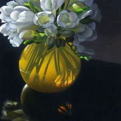 """""""Yellow Vase With Freesia 6x6"""" - Original Fine Art for Sale - © M Collier"""