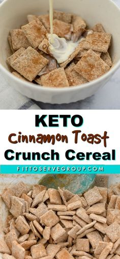 This keto cinnamon toast crunch cereal is a crispy crunchy and tasty option for anyone doing keto that is missing cereal. It's sugar-free grain-free gluten-free and delicious. Cereal Keto, Low Carb Cereal, Crunch Cereal, Sugar Free Cereal, Low Carb Keto, Low Carb Recipes, Cinnamon Toast Crunch Shot, Granola, Galletas Keto