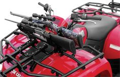 Great Day makes Gun Racks designed specifically for ATVs and side x sides. The Quick-Draw Gun Racks keep firearms within arm's reach. The side x side option mounts the gun vertically in the cabin, while the ATV version mounts the firearm horizontally across the front fender.