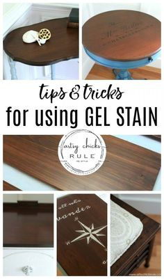 How To Use Gel Stain! Tips & Tricks For Using Gel Stain. All the basics and benefits of using gel stain for your next furniture makeover project! Gel Stain Furniture, Bedroom Furniture Makeover, Furniture Repair, Furniture Projects, Painted Furniture, Diy Furniture, Furniture Stores, Woodworking Furniture, Furniture Design