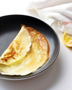 Simple Crepes - Martha Stewart Recipes. this came out the smoothest of the 3 recipes i tried and is now a staple dessert in our house. love to whip them up and let people put on their own toppings, like chocolate chips, peanut butter, jam or fruit. didn't bother using a blender just whisked well as i added ingredients and they came out fine.