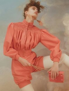 Inside the upcoming issue of Dazed Magazine rising image-maker Charlotte Wales photographs Taylor Hill as a vision of idyllic beauty. Womenswear l Women fashion look outfit coral jumpsuit 80s Fashion, Fashion Shoot, Fashion Art, Editorial Fashion, High Fashion, Fashion Beauty, Fashion Design, Fashion Trends, Taylor Hill