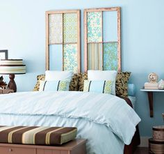 Old Window DIY Projects - Headboard   Fortunately, simply connecting old windows or window frames together looks… well, totally awesome. The repetition of geometric shapes makes for a great large-scale display, from room dividers to custom headboards. This example from Better Homes & Gardens was made with fabric covered, fiberboard inserts set into a pair of salvaged windows.