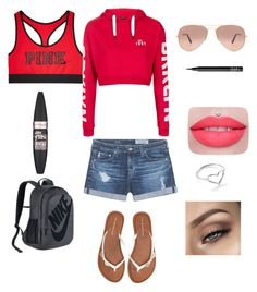 """""""😘😘😍😍"""" by ambyrlynwalsh on Polyvore featuring AG Adriano Goldschmied, Topshop, Victoria's Secret, Aéropostale, NIKE, Ray-Ban, Maybelline, NARS Cosmetics and Jordan Askill"""