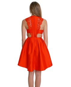 (Non-stretchy skater dress features cut-out waist and crochet lace detail)