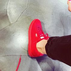 Hot stuff! @puma  #Puma #IleanaBadiu #red #Shoes #Fashion Red Shoes, Keds, Sneakers, Hot, Fashion, Red Dress Shoes, Tennis, Moda, Slippers