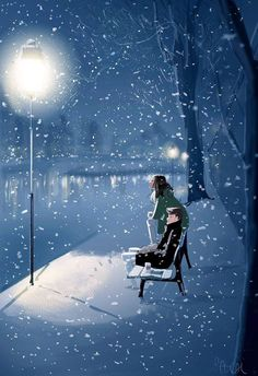 Pascal Campion「River walk benches, Strasbourg, sometime ago」 Couple Illustration, Illustration Art, Fanart Manga, Pascal Campion, Photo Images, River Walk, Couple Art, American Artists, Storyboard