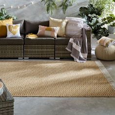 Malmo Recycled Diamond Fringe Rugs in Ochre Yellow buy online from the rug seller uk Recycled Rugs, Recycled House, Outdoor Rugs, Outdoor Sofa, Outdoor Furniture, Outdoor Decor, Rugs In Living Room, Recycling, New Homes