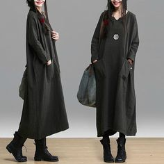 Casual Loose Fitting Long Sleeved Cotton and Linen Long Dress Blouse- Green- Women Maxi dress