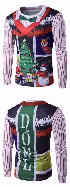 b78e4db3be70 Crew Neck 3D Christmas Bow Tie Costume Faux Twinset Print T-Shirt Grey  Hoodie
