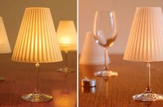 DIY: Wine Glass Lamp - Reminiscent to a floor lamp, the Gorgeous Helen will transform your wine glasses into a lovely, miniature lamp.