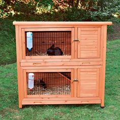 This 2-in-1 rabbit hutch is ideal for small animals. There is a retreat area on each level, allowing you to use the hutch as either two separate or one connected unit. Restrict access by simply closing and locking the hatch door.