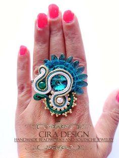 ref 012 Cira Rings Cool, Soutache Jewelry, Made Goods, Shibori, Beaded Embroidery, Gemstone Rings, Handmade Jewelry, Turquoise, Boho