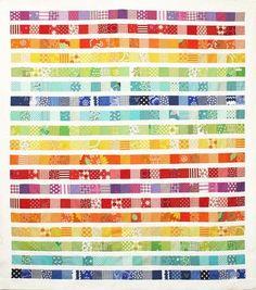 How to make a patchwork quilt. Rainbow Scrap Strip Quilt Tutorial