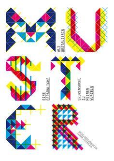 Geometric neon typography.