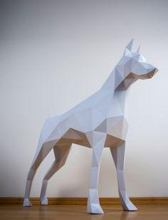 Doberman papertrophy paper animal dog