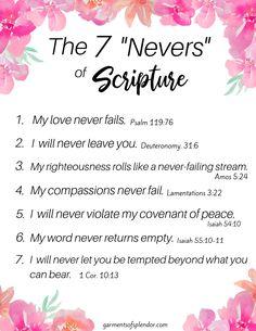"Bible Verses About Faith:Seven ""Nevers"" in Scripture you can Always Count On - Powerful Scriptures, Prayer Scriptures, Bible Prayers, Bible Verses Quotes, Bible Verses About Faith, Healing Scriptures, Bible Teachings, Bible Notes, Bible Bible"
