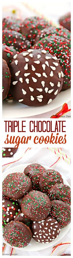 Quick and easy to make, these triple chocolate sugar cookies have a rich chocolate taste, are soft and chewy and packed with mini chocolate chips! No need to chill the cookie dough! Ready in minutes!!!