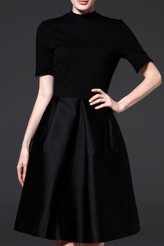 Oserjep Black Knee Length Fit And Flare Dress | Knee Length Dresses at DEZZAL