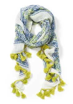 Portrait Linen & Cotton Scarf in Border Lace in WHITE/DAZZLING BLUE by J.McLaughlin