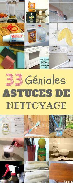 J'ai compilé pour vous une liste de 33 conseils et d'astuces de nettoyage que je trouve vraiment utiles. Certaines de ces astuces sont du pur génie !!
