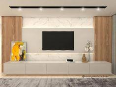 115 Salas de TV Decoradas com Fotos para te Inspirar Tv Feature Wall, Feature Wall Bedroom, Tv Cabinet Design, Tv Wall Design, Living Room Interior, Home Living Room, Living Room Tv Cabinet, Salas Home Theater, Tv Wanddekor