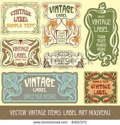 Illustration of vintage items: label art nouveau vector art, clipart and stock vectors. Vintage Labels, Vintage Posters, Vintage Items, Vintage Logos, Alphonse Mucha, Label Art, Design Art Nouveau, Jugendstil Design, Bijoux Art Nouveau
