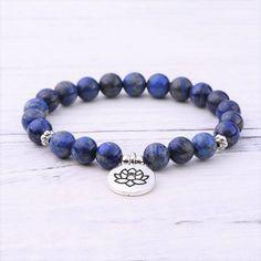 Lapis Lazuli Third Eye Chakra Bracelet #lapislazuli #mala #meditation #blue #thirdeye #chakra Lapis Lazuli Bracelet, Third Eye Chakra, Chakra Bracelet, Bracelet Sizes, Crystal Bracelets, Gemstones, Pearls, Crystals, Jewelry