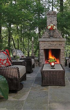 outdoor area with fireplace and furniture from the Sedona Collection by Summer Classics