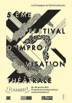 """soda-graphic: Affiches typographiques faites main pour le 5ème festival d'improvisation de la """"Cie du Cachot"""" au théâtre de l'Echandoleà Yverdon-les-Bains. © Colas Weber 2014"""