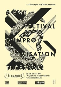 """soda-graphic: Affiches typographiques faites main pour le 5ème festival d'improvisation de la """"Cie du Cachot"""" au théâtre de l'Echandole à Yverdon-les-Bains. © Colas Weber 2014"""