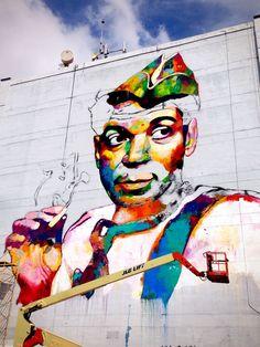 Street art, mural de Cantinflas en Guadalajara México, autor desconocido