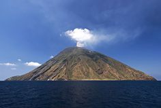 Stromboli volcano.  The only active volcano I've seen from fairly close.
