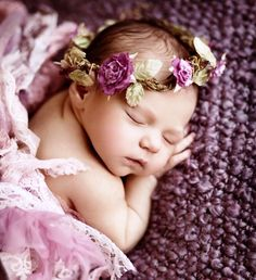 Infant baby girl with purple flower crown Toni Kami.♕PM