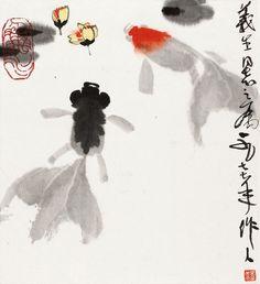 Wu Zuoren (b. 1908~1997) GOLDFISH Mounted for framing; ink and colour on paper. 吳作人 (b. 1908~1997) 金魚(1977年作) 鏡心 設色紙本 28 x 26 cm. 11 x 10 1/4 in. 約0.7平尺 鈐印:吳作人印、魚水 題識:義生同志之屬。一九七七年,作人。