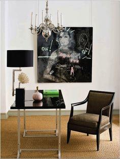 statement art, minimalist desk