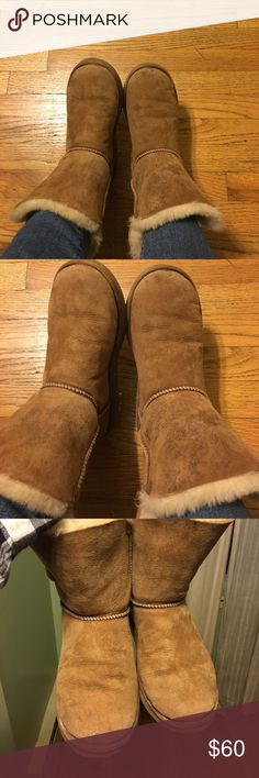 Uggs Chestnut with on-button size 7 Authentic Uggs Chestnut with on-button size 7. Pre-owned condition, see photos for details on condition. UGG Shoes Winter & Rain Boots