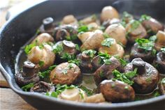 simple, sauteed mushrooms.  i love mushrooms!  the texture and feeling is very much like a meat substitute for me when i'm dieting.