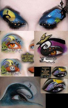 Nightmare before Christmas makeup (christmas nail art designs jack skellington) Eye Makeup Art, Eye Art, Halloween Eye Makeup, Christmas Makeup Look, Disney Makeup, Crazy Eyes, Christmas Nail Art Designs, Makeup Designs, Eyeshadow Designs