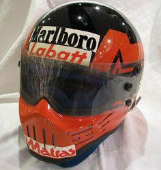 Custom Motorcycle Helmets, Racing Helmets, Vintage Helmet, Gilles Villeneuve, Ferrari F1, Helmet Design, F 1, Formula One, Courses