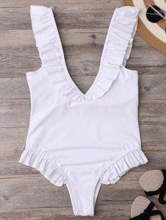 Plunging Neck Ruffle Strap Bride Swimsuit - White