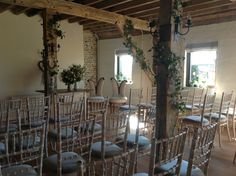 The flint barn set up for our very first Civil Ceremony