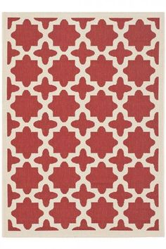Safavieh Red / Bone Courtyard Courtyard X Rectangle Synthetic Power Loomed Contemporary Outdoor Area Rug