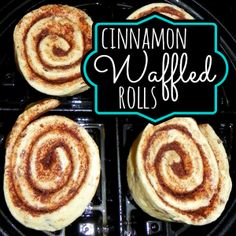 How to make Cinnamon Rolls in a Waffle Iron- these really are wonderful.  They only need 1 1/2 to 2 minutes in our waffle iron.  Yum!