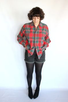Vintage 80s Red Plaid Winter Button Up Blouse // Outdoors Camping Shirt. $28.00, via Etsy. #vintage #fashion #style