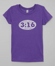 Look what I found on #zulily! Purple '3:16' Tee - Girls #zulilyfinds
