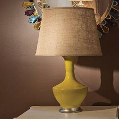 """We are so loving the new Brussels Lamp in Yellow - shown here with the 17"""" Burlap Shade.  You can see the entire collection from Bungalow 5 at PoshTots.com"""