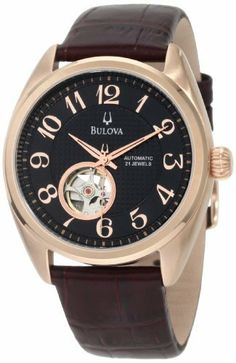 Bulova Men's 97A104 BVA Aperture dial Watch Bulova. $218.00. Domed mineral crystal. Water resistant to 30 meters. Leather strap. Black dial. Self winding Mechanical movement. Save 45% Off!