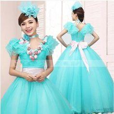 カラーウェディングドレス ブルー ロングパーティードレス 結婚式 二次会ドレス 花嫁演出舞台撮影着 CC10